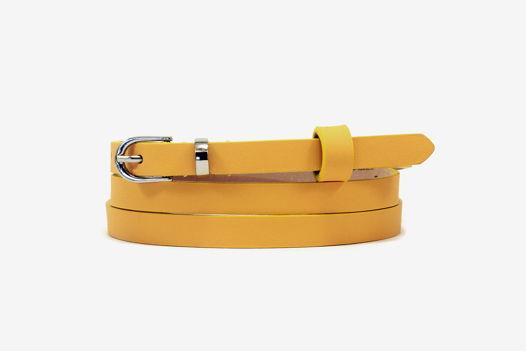 Узкий кожаный ремень желтый