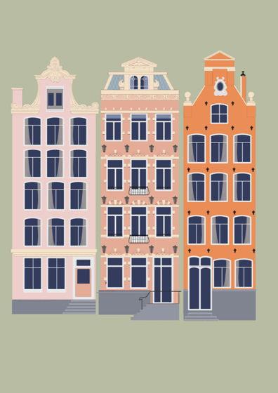 """Постер с авторской иллюстрацией """"Голландские домики """" А3"""