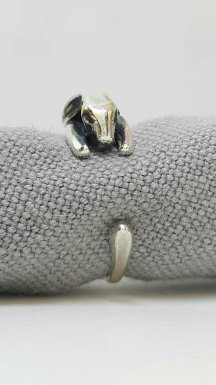 Кольцо зайчик. Серебро 925.