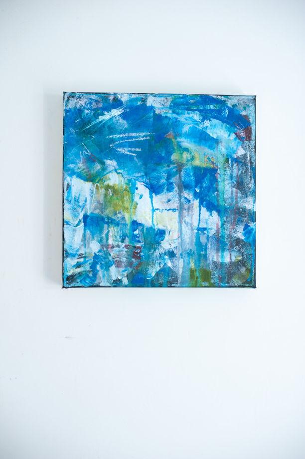 Acrylic on Canvas | 30*30 Картина, акрил на холсте, абстракция. Синяя, №10