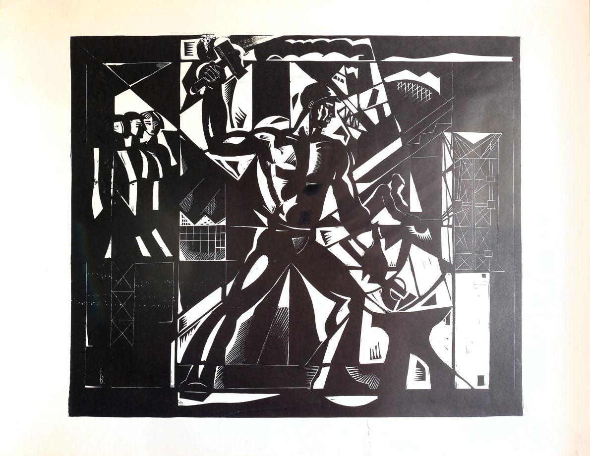 """""""МОЛОТОБОЕЦ"""" большая  черно-белая линогравюра, автор И. Захаров-Холмский"""