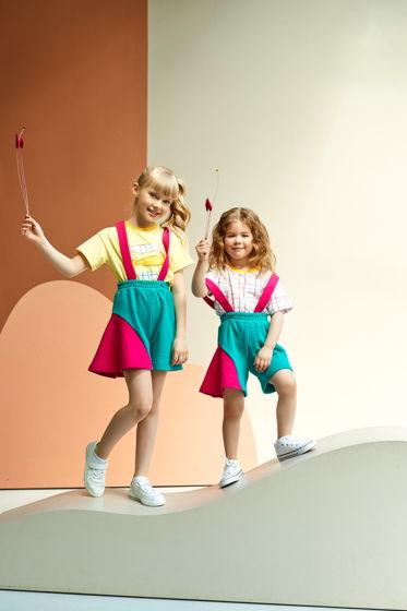 Мягкие шорты из футера для девочки изумрудно-розового цвета Wave