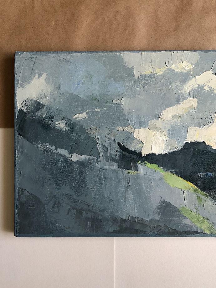 Прямоугольная картина маслом «Горы облака»