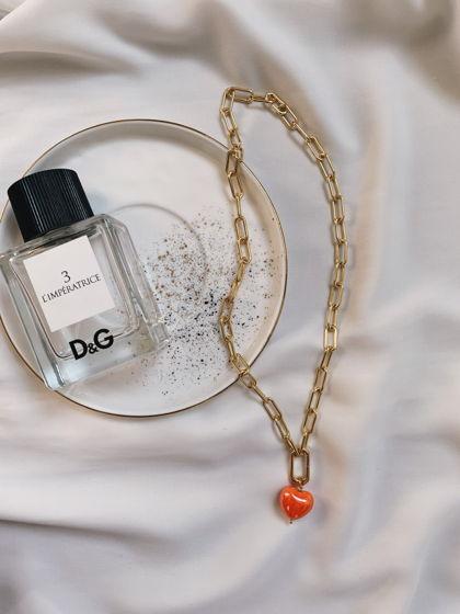 Цепочка-трансформер с кулоном «Мандариновое сердце» из керамики