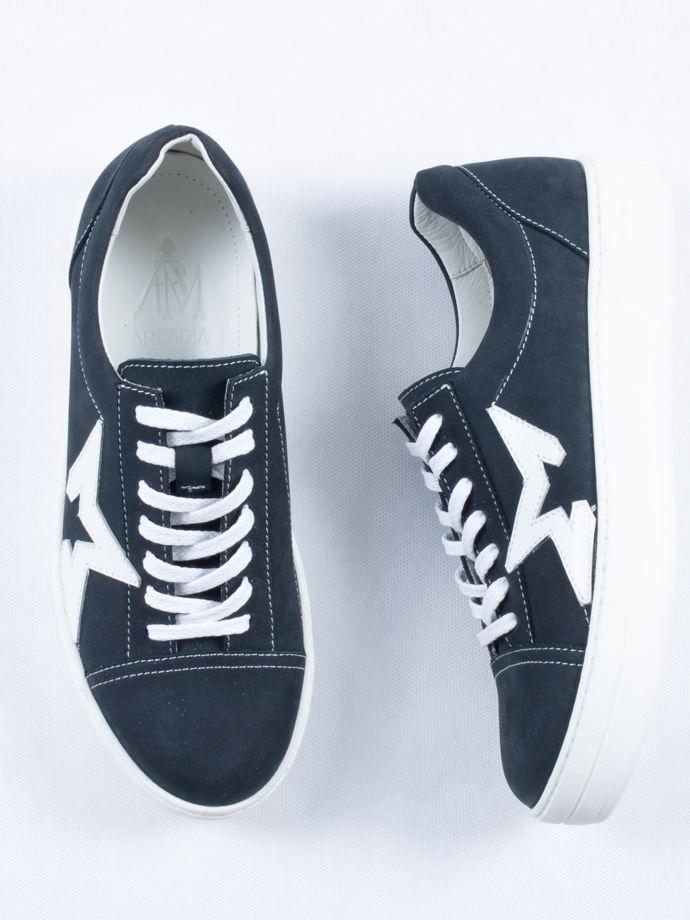 Кеды нубук, синие со звездой/ Arcadia Shoes