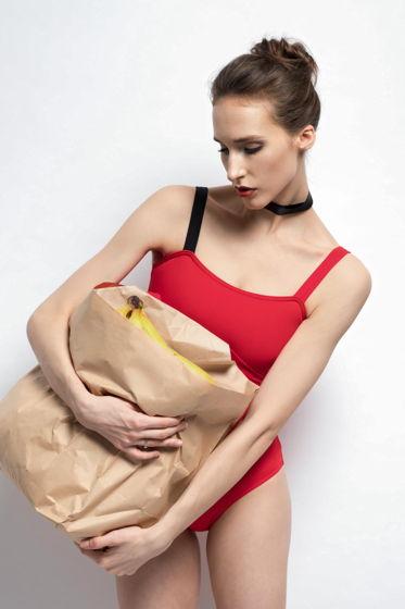 Купальник Лямка colour | алый для балета / танцев