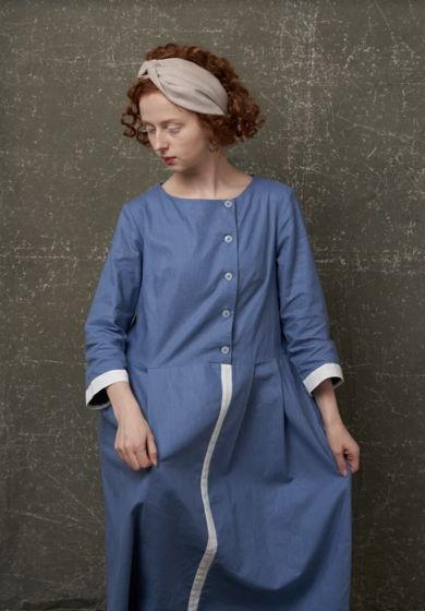 """Бохо Платье """"Утро"""" льняное голубое  из 100% льна с повязкой на выбор"""