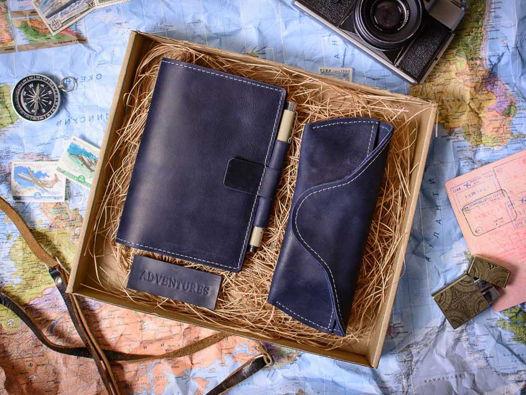 Подарочный набор -ADVENTURE- аксессуары ручной работы из натуральной кожи цвет Синий океан