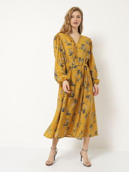 Платье А-силуэта горчичное в цветочек