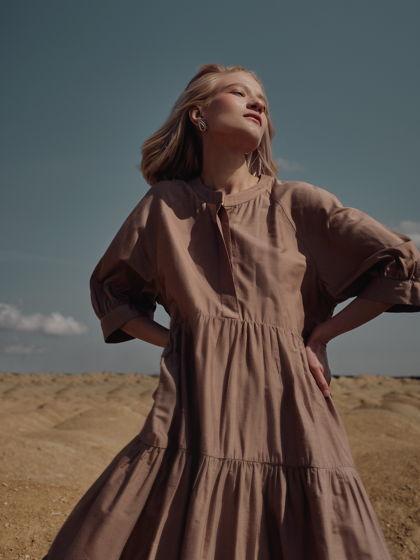 """Платье из шелка с вискозой """"Сансвит"""" пыльно-розовое"""