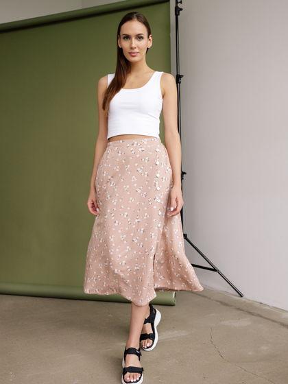 Женская юбка с цветочным принтом