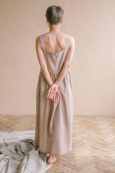 Платье изо льна цвета какао