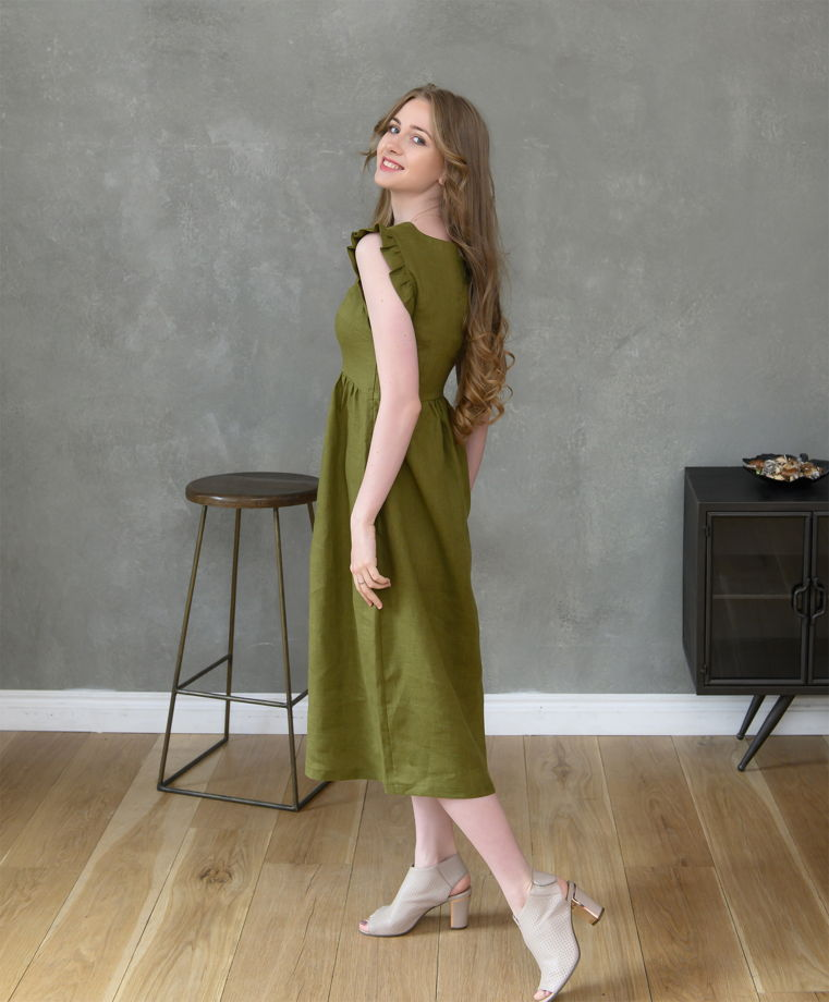 """Льняное платье """"Олива"""""""