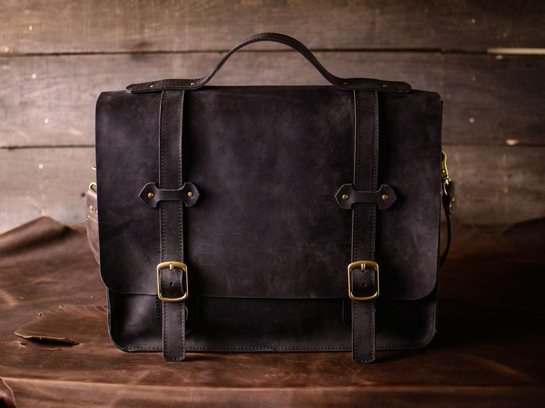 Мужская сумка через плечо -HARVARD- сумка-мессенджер из натуральной кожи цвет Черный Уголь
