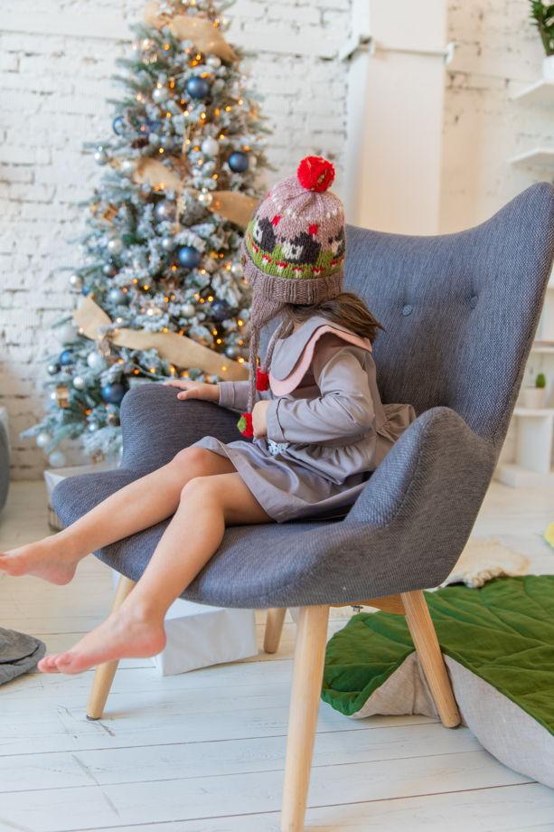 """Коричневая детская зимняя шапка """"Ежики"""" из 100%ной мягкой шерсти с флисовым подкладом"""