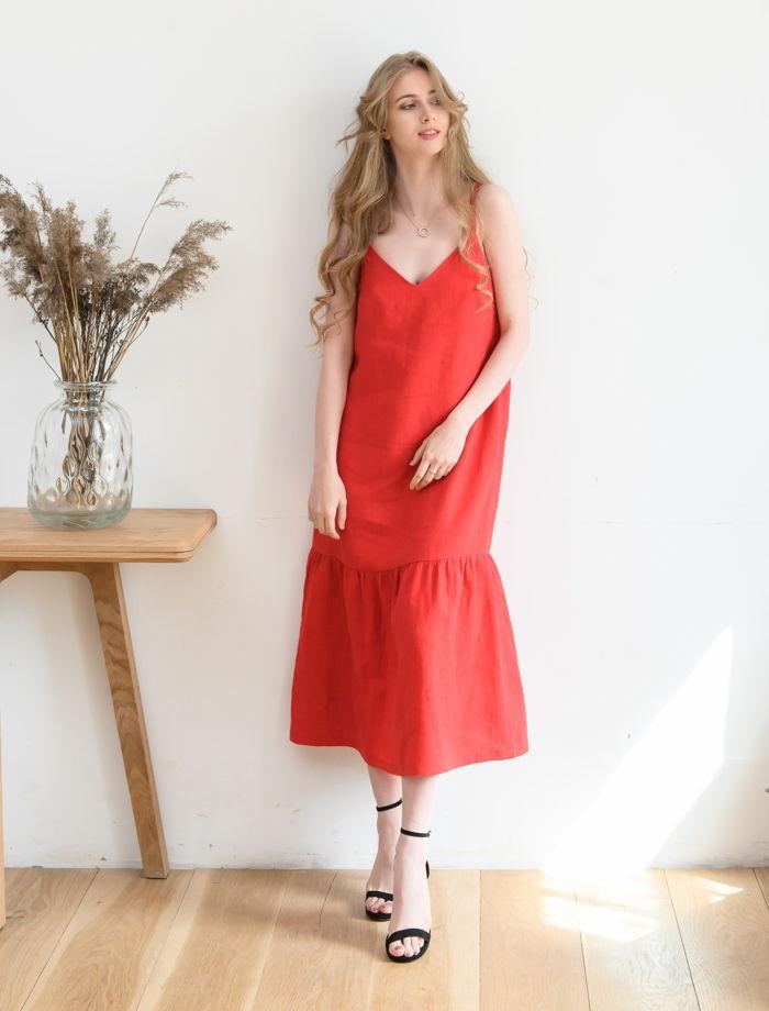 Льняной сарафан красный