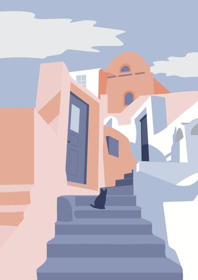 """Постер с авторской иллюстрацией """"Парос"""" А3"""