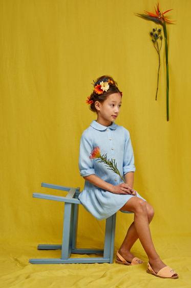 Платье для девочки Анна-царевна (голубой лен)