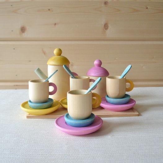 Деревянная игрушечная посуда 4 чашки (19предметов)