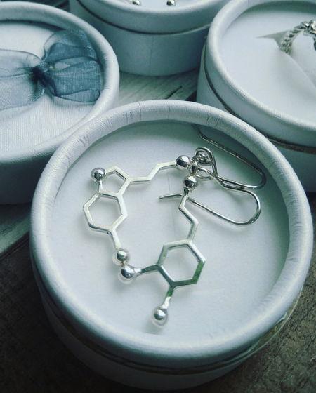 Серьги молекулы серотонин и дофамин