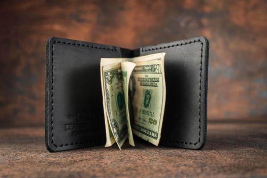 Кожаный зажим для денег -JAWS- цвет Черный Уголь