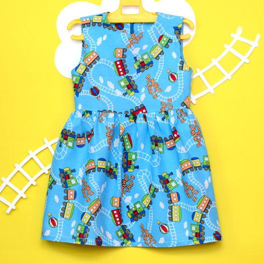 Голубое платье из хлопка для девочки ростом 95-100 см
