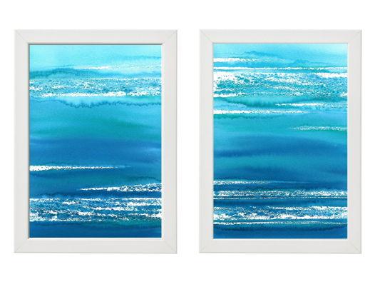 """Диптих  """"Морской пейзаж - абстракция"""" в рамах."""