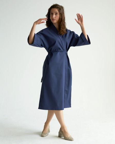 Платье-кимоно из костюмного хлопка в синем цвете Aimi