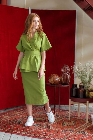 Кимоно с коротким рукавом и поясом Дайна, зелёный