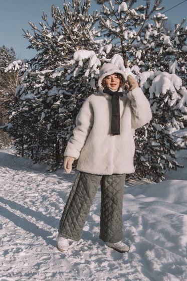 Утеплённое кимоно с овечьей шерстью