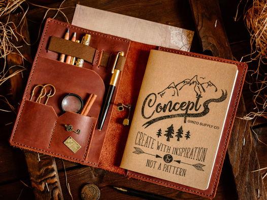 Кожаный ежедневник органайзер -LEGACY- со сменными блокнотами А5 цвет Коньяк