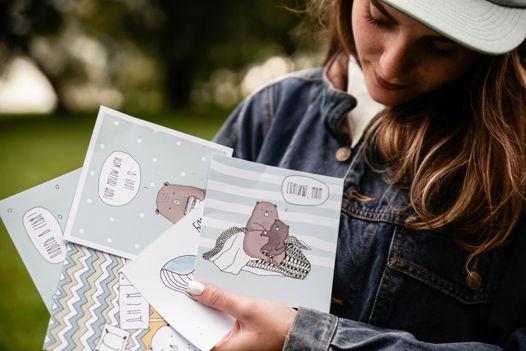 Набор открыток с мишками и единорогом 6 карточек