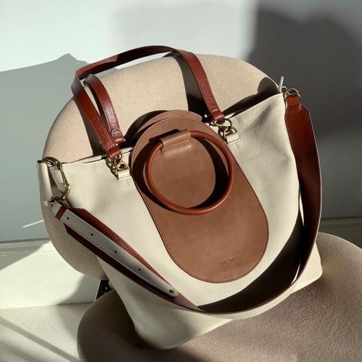 Кожаная сумка Arc Cream/Chocolate