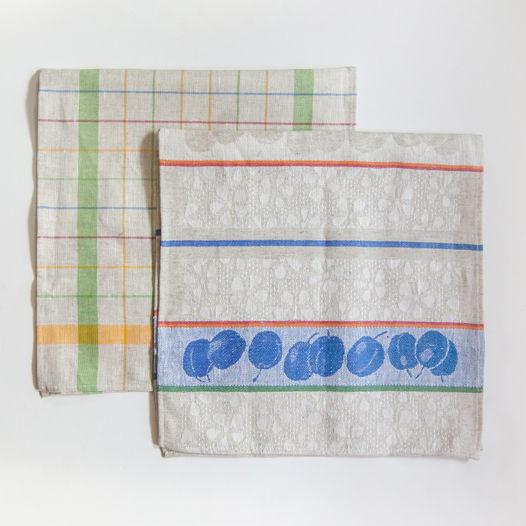 Кухонные полотенца, лён + хлопок, жаккард, на две стороны 'TEA-PARTY', 2 шт, 35 см x 70 см