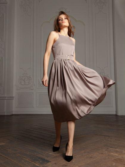 Платье Робби из натурального шелка дымчато-сиреневое
