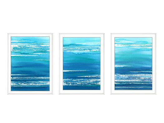 """Триптих в рамах из серии """"Морской пейзаж - абстракция"""""""