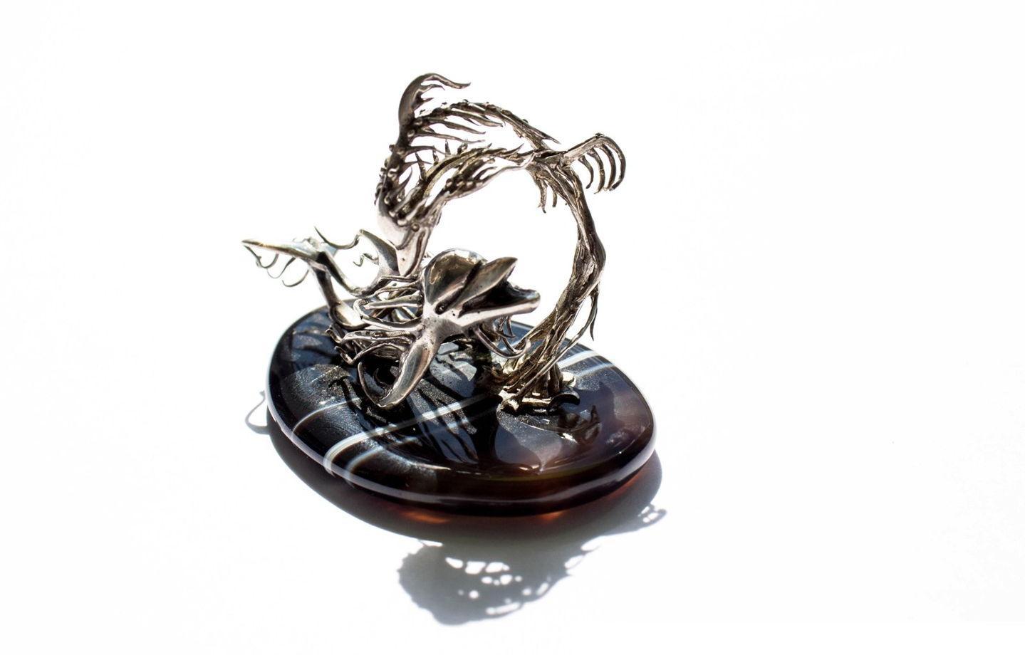 """Серебряная статуэтка """"Дельфины"""", ручная работа"""
