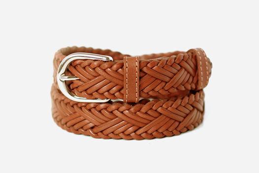 Кожаный плетеный ремень (коричневый)
