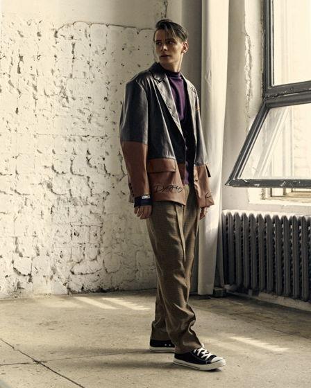 Мужской пиджак из кожзама