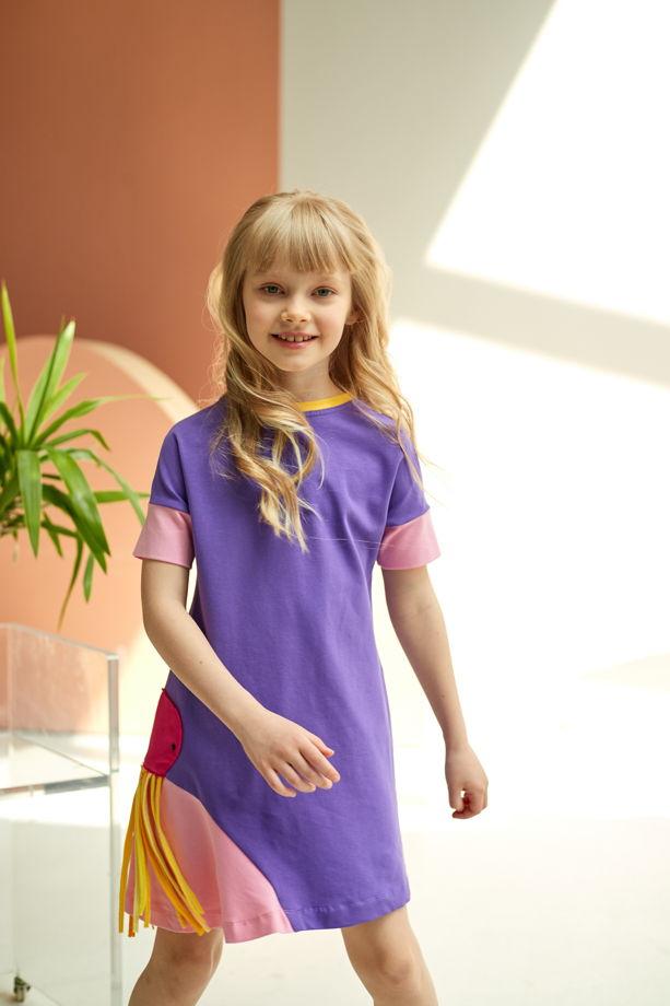Платье из хлопка для девочки фиолетово-розового цвета Octa