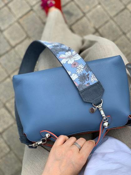 Ремень для сумки серо-голубой с белыми цветами