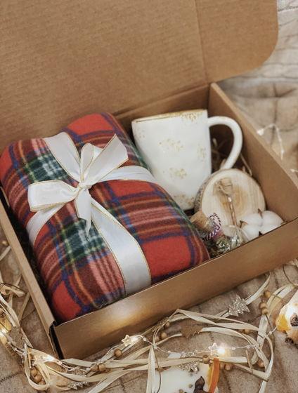 Новогодний набор с пледом из полиэстра для подарка семье