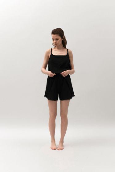 Льняная пижама в черном цвете