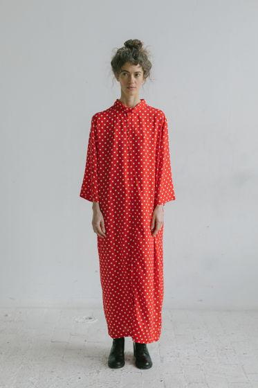 """красное платье-рубашка """"горошек"""" из тончайшей вискозы"""