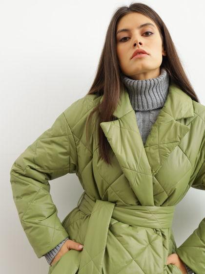 пальто стеганое утепленное зеленое оливковое