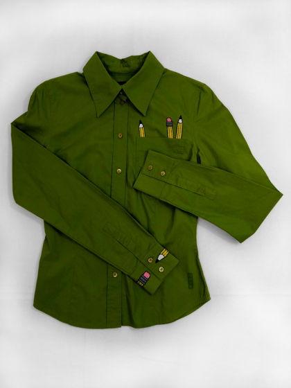 """Женская зеленая рубашка с ручной вышивкой """"Карандаш"""""""