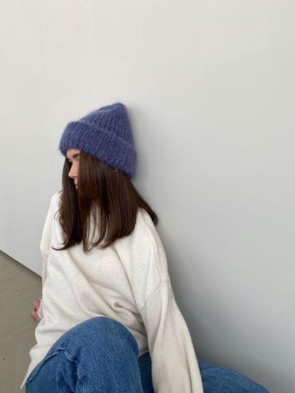 Двухслойная шапка из мохера, цвет джинсовый