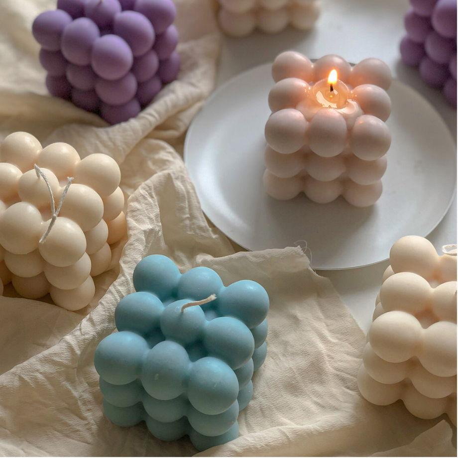 Свеча соевая голубая в форме куба (бабл) для интерьера, подарка и декора дома ручной работы Flama