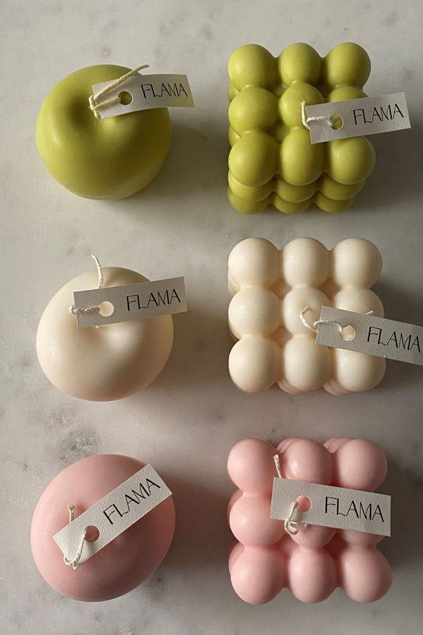 Свеча соевая в форме яблока для интерьера, подарка и декора дома ручной работы Flama