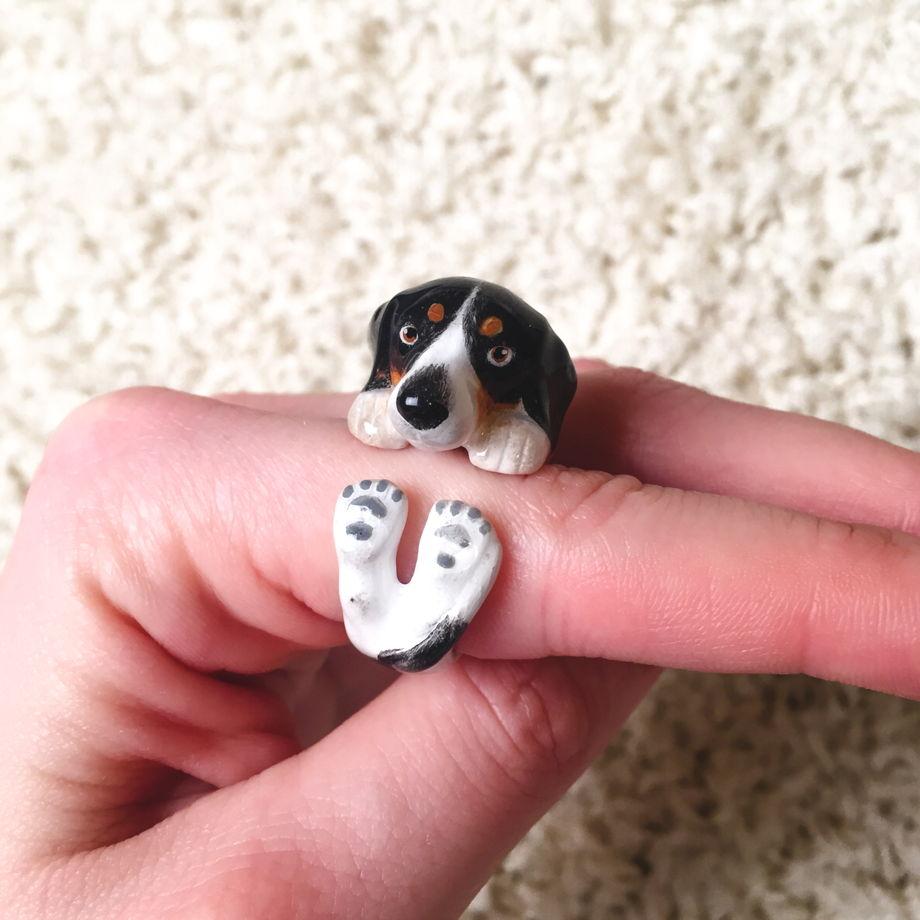 Кольцо собака сплошное, латунь